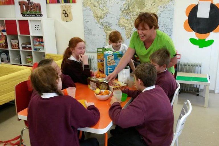national school kids eating breakfast at the den mullingar before school