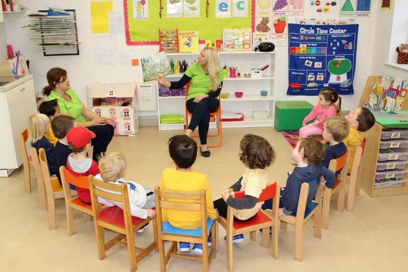 kids listening to story at montessori mullingar circle time