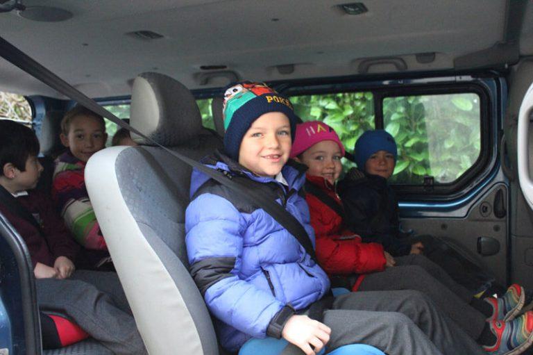 school kids sitting in minivan mullingar