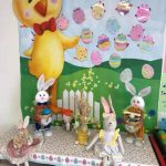 easter bunny dolls sitting on a classroom table