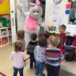 easter bunny meets children in classroom