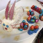 easter bunny cake on a plate with chocolate eggs