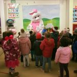 Easter bunny with kids in a room at Easter camp for kids mullingar montessori