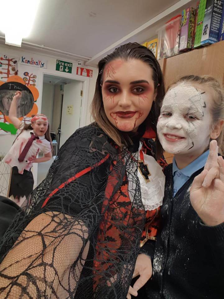 halloween camp mullingar woman dressed as vampire and girl dressed as ghost