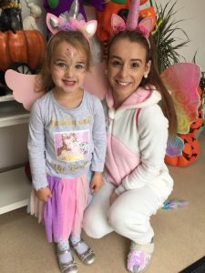 halloween camp mullingar woman and girl dressed as unicorns