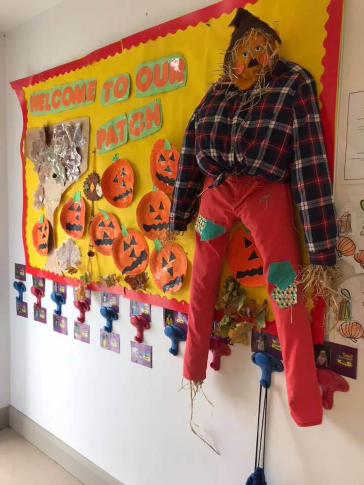 halloween camp mullingar orange scarecrow hanging on a wall