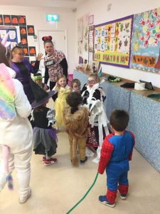 halloween camp mullingar teachers and kids playing in costumes