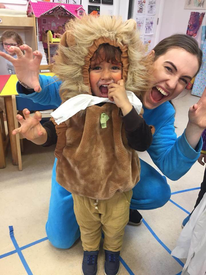 halloween camp mullingar teacher and child dressed as lion