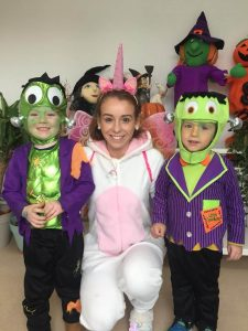 halloween camp mullingar teacher dressed as unicorn and two kids in costume