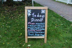 menu board at mullingar montessori and the den after school care