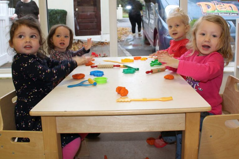four preschool kids playing at montessori mullingar