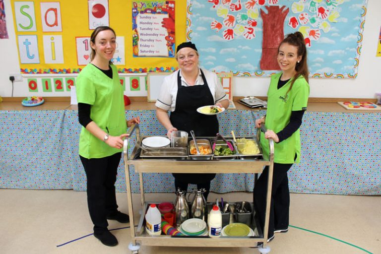 chef and two servers with dinner trolly in mullingar montessori