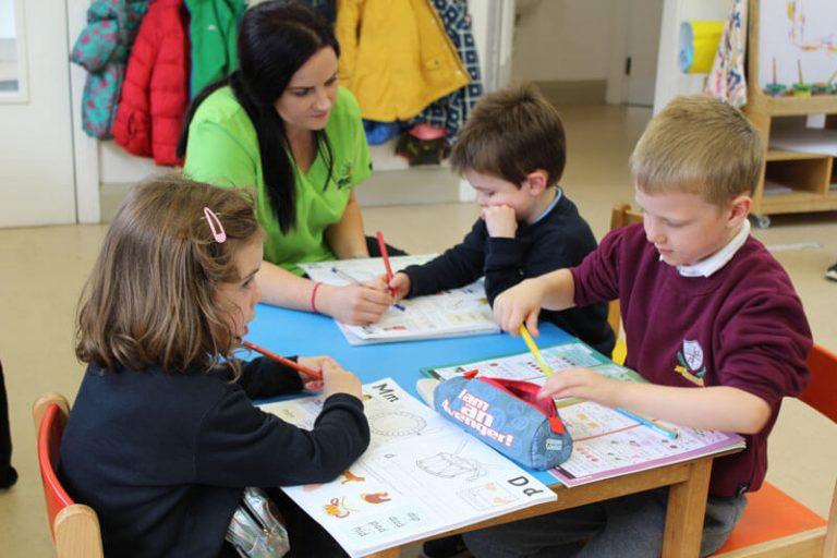 kids doing homework after school
