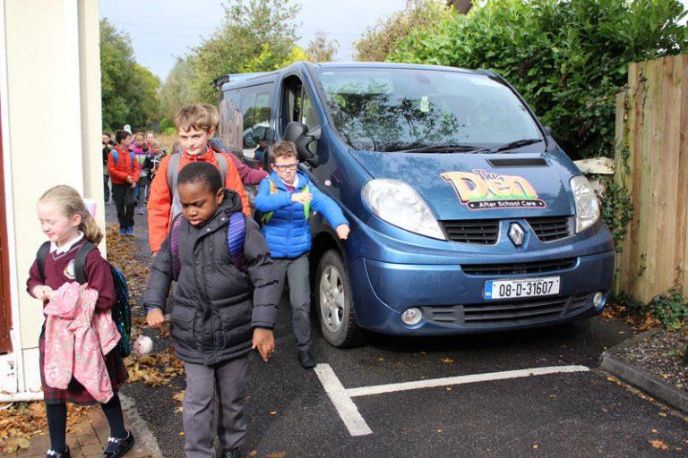 school children arriving to after school care mullingar beside the den minivan