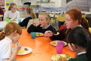 school girls eating dinner at the den mullingar