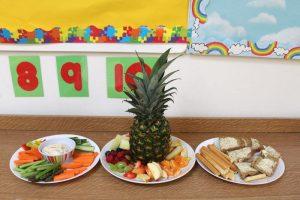 three plates of healthy snacks