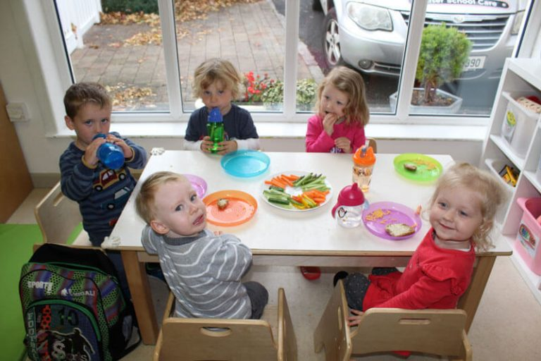 five preschool children mullingar having a snack