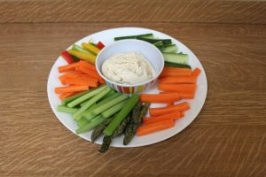 plate with fresh vegetable snacks